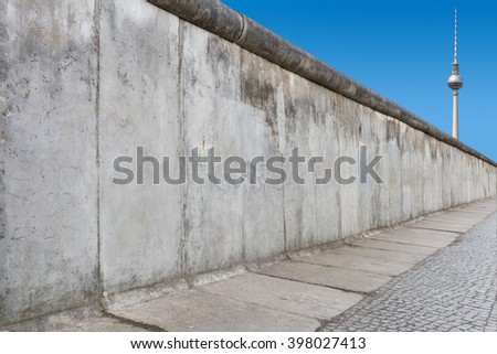 Berlin Wall with TV Tower  - stock photo