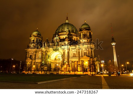 Berliner Dome at night, Berlin, Grmany  - stock photo
