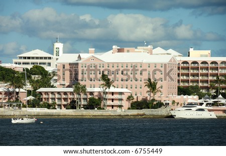 Bermuda Capital City Hamilton Skyline and Port - stock photo