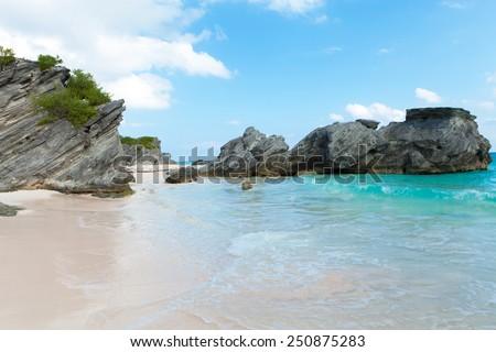 Bermuda Horseshoe Bay beach scene empty without any tourists. - stock photo