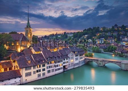 Bern. Image of Bern, capital city of Switzerland, during dramatic sunset. - stock photo