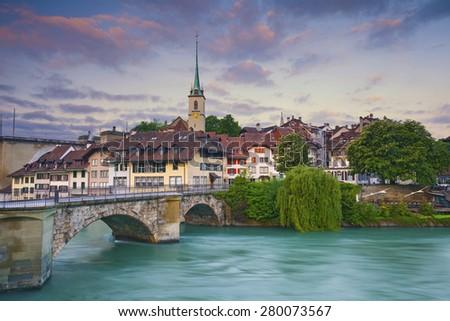 Bern. Image of Bern, capital city of Switzerland, during sunrise. - stock photo