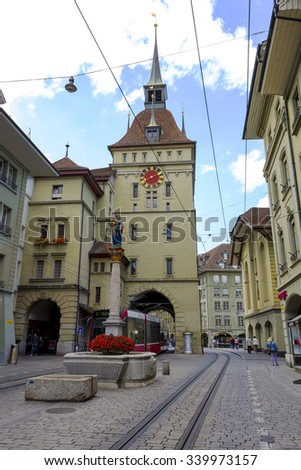 BERN, SWITZERLAND - SEPTEMBER 06, 2015: Prison Tower has served as the seat of the Confederation's political forum since 1999, formerly it was constructed as a prison, it was Bern's second city gate - stock photo