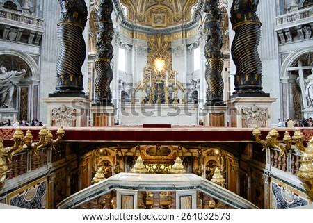 Bernini's Baldacchino Altar - Saint Peter's Basilica - Vatican City - stock photo