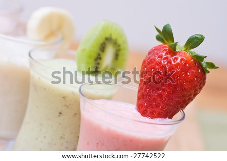 Berries and fruits smoothies - stock photo