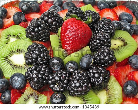 Berries and Kiwi Topping - stock photo