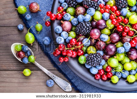 Berries.Antioxidants, detox diet, organic fruits. - stock photo