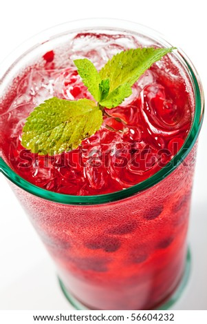 Berries Cocktail with Fresh Mint - stock photo