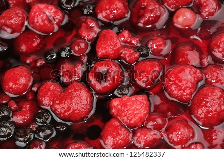 Berries (Raspberries and Currants) in Jelly - stock photo