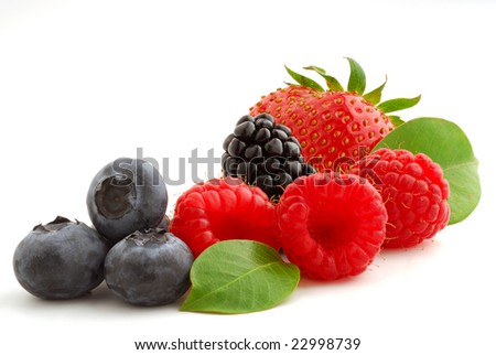 Berries very close studio isolated on white background - stock photo