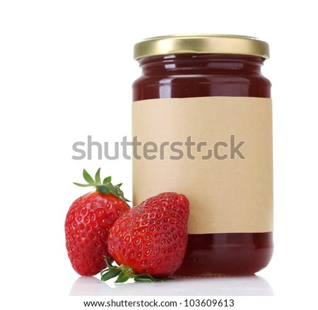 berry jam and strawberry isolated on white - stock photo