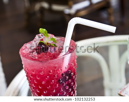 berry soda topping with mint - stock photo