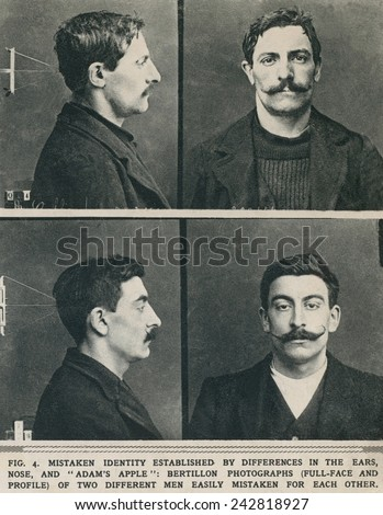 Bertillon system photographs taken of similar looking men established their different identities by differences in their ears, noses, and Adam's apples. - stock photo