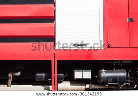 Beside Firefighters Truck - stock photo