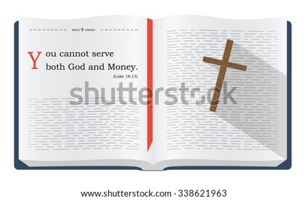 Best Bible verses about serving God and money - Luke 16:13. Holy scripture inspirational sayings for Bible studies and Christian websites, illustration isolated over white background - stock photo