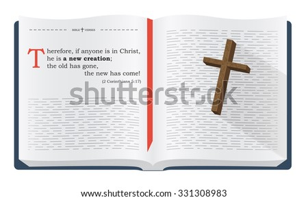 Best Bible verses to remember - 2 Corinthians 5:17. Holy scripture inspirational sayings for Bible studies and Christian websites, illustration isolated over white background - stock photo