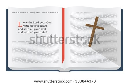 Best Bible verses to remember - Matthew 22:37. Holy scripture inspirational sayings for Bible studies and Christian websites, illustration isolated over white background - stock photo