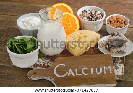 Best Calcium Rich Foods Sources. Healthy eating - stock photo
