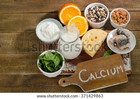 Best Calcium Rich Foods Sources. Healthy eating. Top view - stock photo