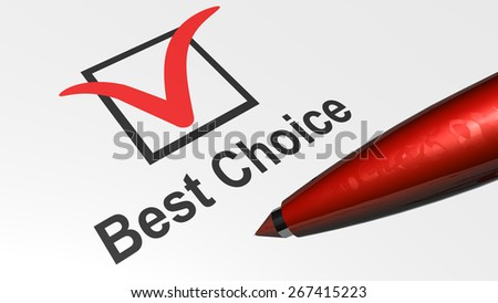 best choice - box and red tick - red pencil - stock photo