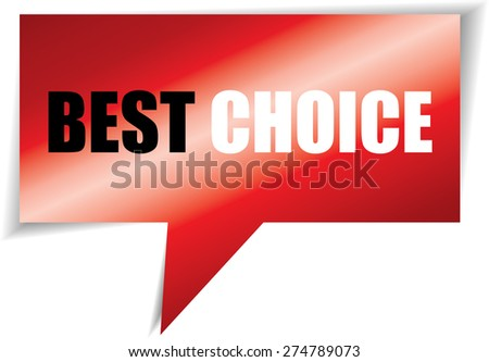 Best choice red speech bubbles square template | business banner with symbol icon.  - stock photo