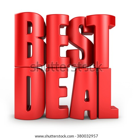 Best deal 3d text in red letters isolated over white background - stock photo