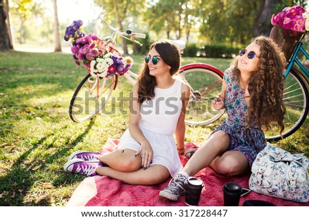 Best Friends Enjoying Picnic Together - stock photo