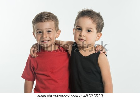 best friends hugging each other - stock photo