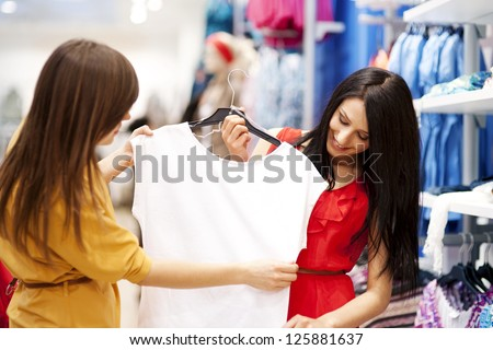 Best friends shopping - stock photo