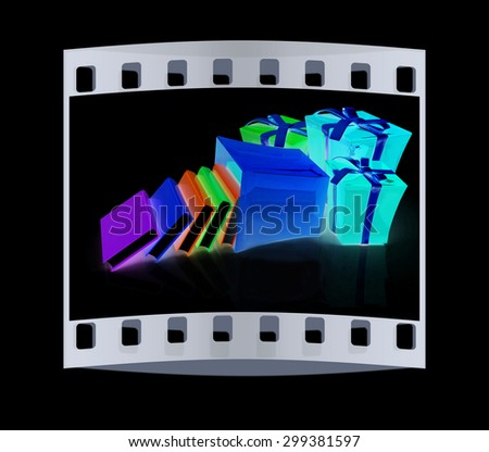 Best gift - a good book. 3d render. The film strip - stock photo