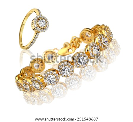 Best gold bracelet and ring with diamonds - stock photo