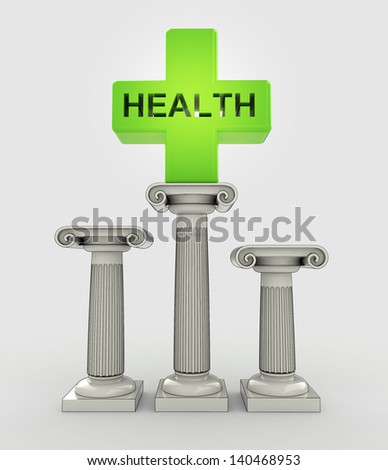 best health care concept with ancient column illustration - stock photo