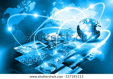 Best Internet Concept. Globe, glowing lines on technological background. Electronics, Wi-Fi, rays, symbols Internet, television, mobile and satellite communications. Technology illustration - stock photo