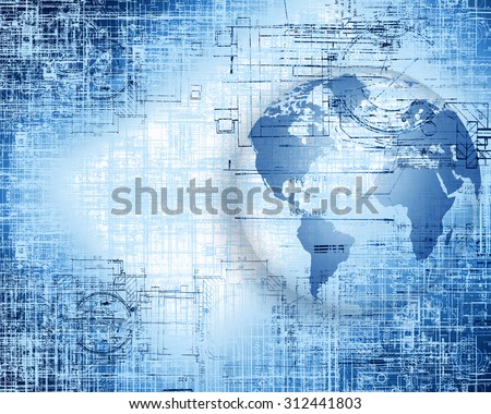 Best Internet Concept of global business from concepts series. Technical and electronic circuits,  globe with the effect it scrapes and old paper.  - stock photo