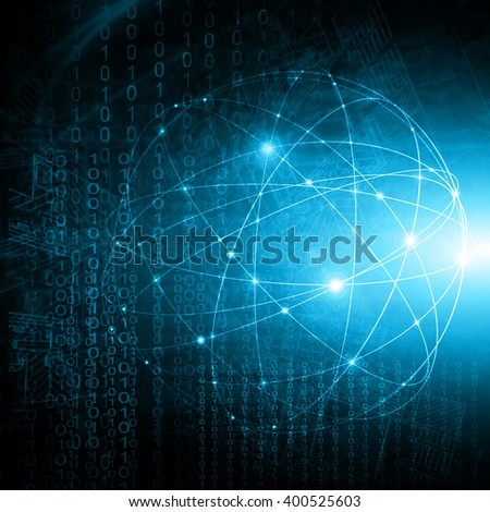 Best Internet Concept of global business.Technological background. Rays  symbols Wi-Fi,  of the Internet, television, mobile and satellite communications - stock photo