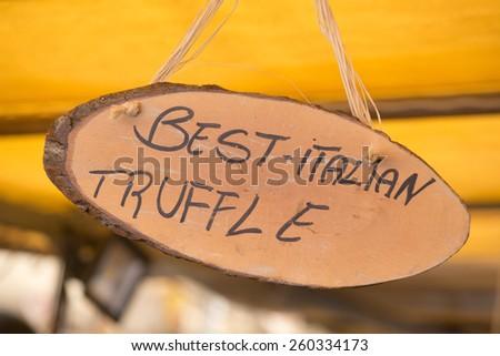 Best Italian truffle sign in Campo De Fiori famous street market - stock photo
