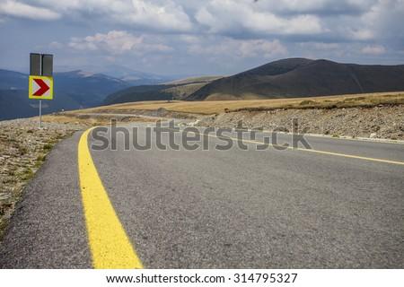 Best mountain curve road. Transfagarasan, Romania - stock photo