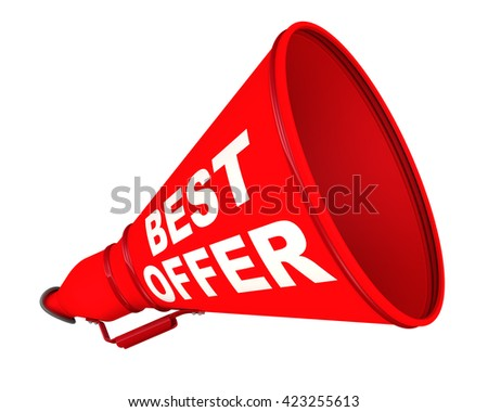 "Best offer. Red megaphone with the inscription ""best offer"". Isolated. 3D Illustration - stock photo"