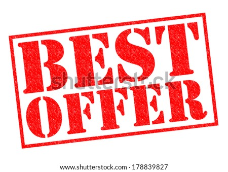 BEST OFFER red Rubber Stamp over a white background. - stock photo