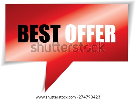 Best offer red speech bubbles square template | business banner with symbol icon. - stock photo
