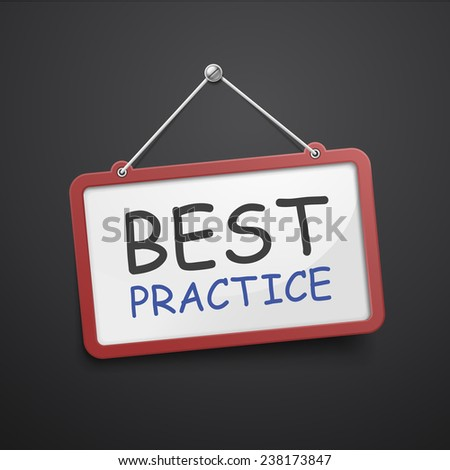 best practice hanging sign isolated on black wall  - stock photo