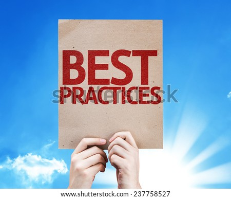 Best Practices card with beautiful day - stock photo