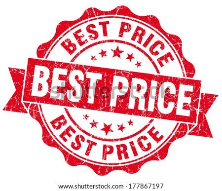 Best price grunge round red seal - stock photo