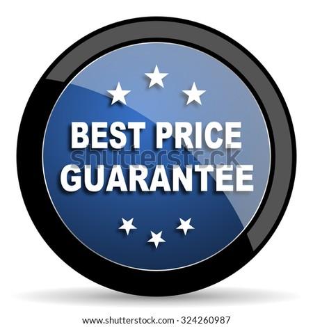 best price guarantee blue circle glossy web icon on white background, round button for internet and mobile app - stock photo