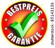 Best Price Guarantee Button/Label, german version Bestpreis Garantie red - stock photo