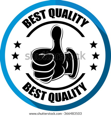 Best quality blue, Button, label and sign. - stock photo