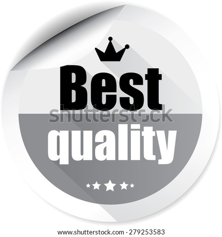 Best quality gray badge label, sticker, tag and sign on white background.  - stock photo