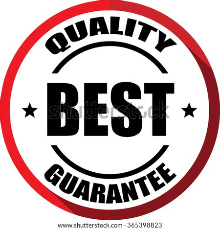 Best quality guarantee red, Button, label and sign. - stock photo