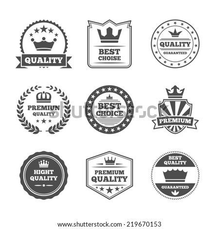 Best quality high premium value superior brands  individual labels with royal crown emblems collection isolated  illustration - stock photo