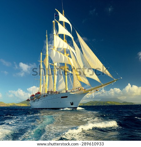 Best Sailing. Holidays. Caribbean islands - stock photo